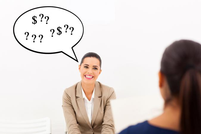 Woman during job interview