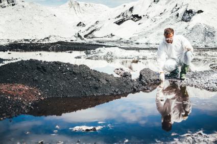 Environmental Scientist examining water