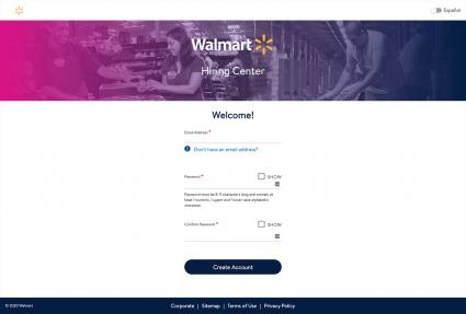 Screenshot of Walmart Hiring Center