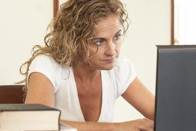 Woman searching online for a flexible career