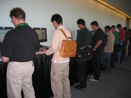 Men hunting for jobs online