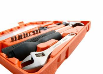 Image of orange toolbox filled with tools