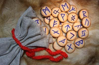 Work-at-home psychic's bag of runes