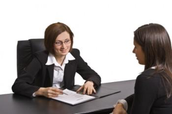 Woman asking questions during interview
