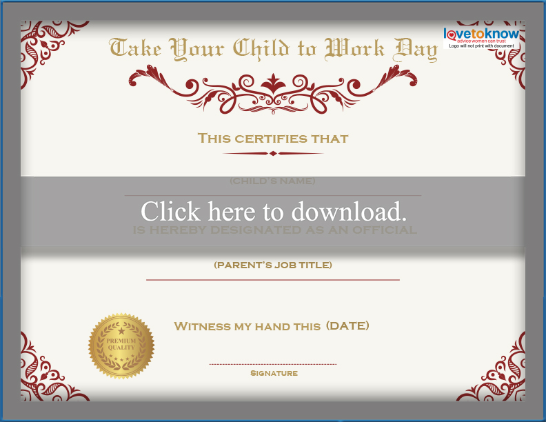 Printable Bring Your Child To Work Day Certificates Lovetoknow