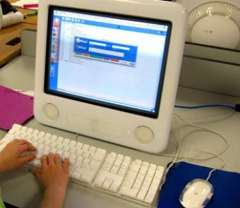 Young child working on an educational website