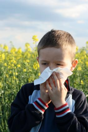 Boy with allergies in springtime