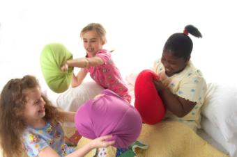 Three little girls at a pajama birthday party