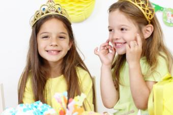 Little girls at a princess-theme birthday party