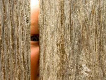 Child peeking through fence