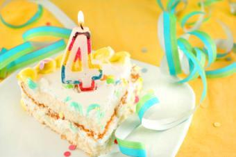 Slice of 4th birthday cake