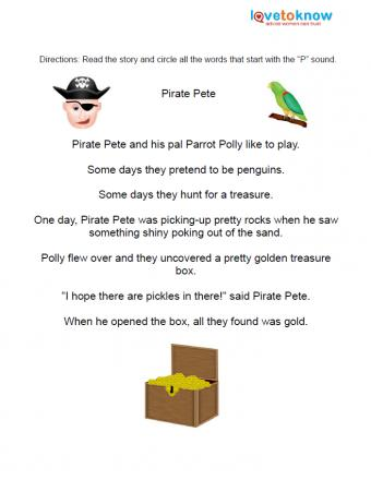 Pirate pete worksheet