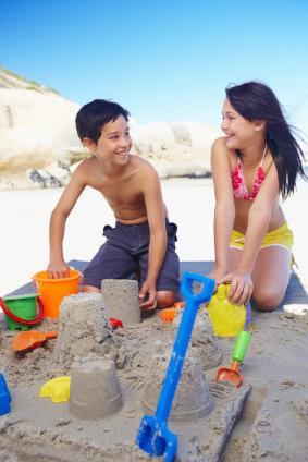 Kids making sand castles