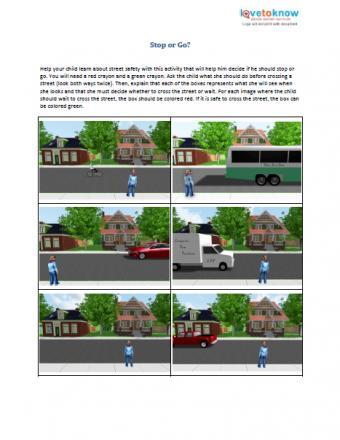 Stop or Go printable preschool lesson