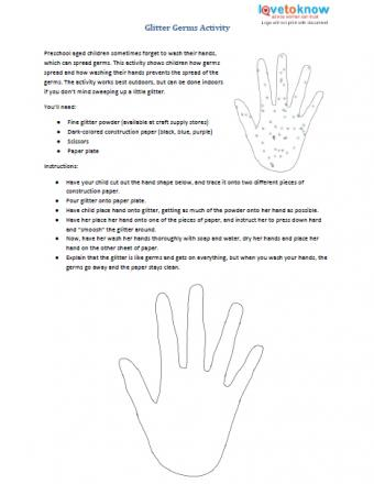 Glitter Germs preschool printable