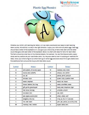 Plastic Egg Phonics preschool activity