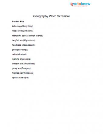 geography for kids word scramble answers