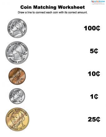 Coin matching money worksheet for children