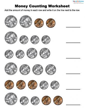 Money counting worksheet for children