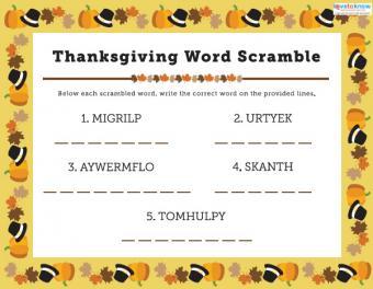 Children's Thanksgiving Word Scramble