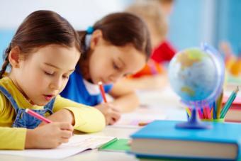 Child taking school test