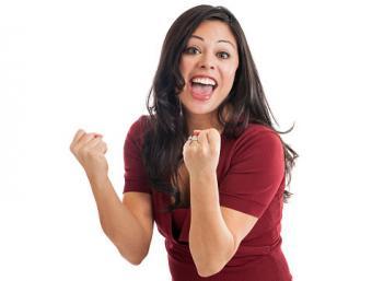 Woman pumping fists