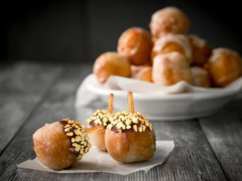 Donut holes decorated like acorns