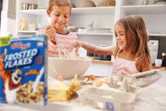Children having fun baking in the kitchen