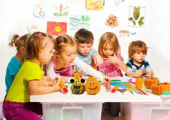 Happy kids making crafts
