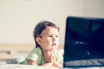 Girl watching cartoons