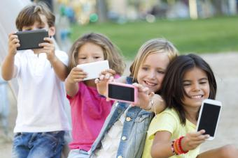 Group of children taking a selfie