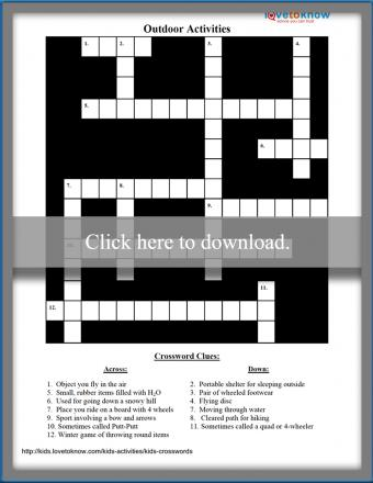 Outdoor Activities Kids Crossword Puzzle