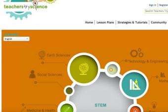 Screenshot of Kids Try Science page on Teachers Try Science website