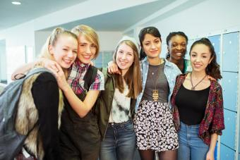 students standing in locker room