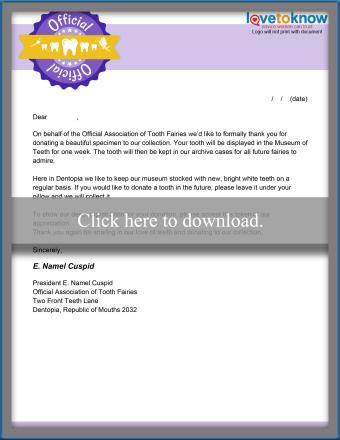 Tooth Fairy Donation Letter