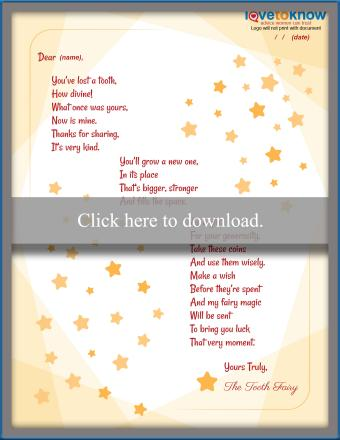 Rhyming Tooth Fairy Letter