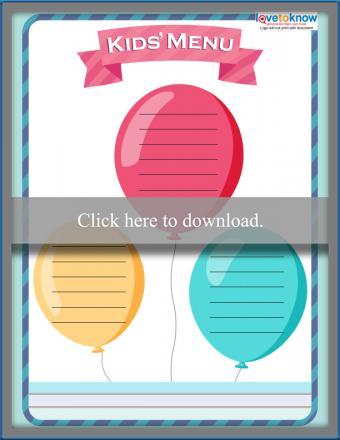 Full Color Balloon Theme Kids' Menu