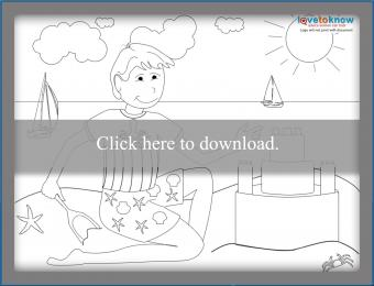 Boy and sandcastle coloring page