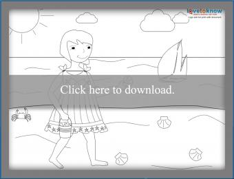 Girl collecting shells coloring page