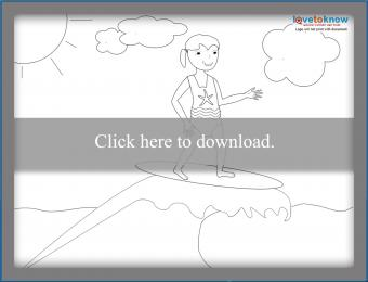 Girl surfing coloring page