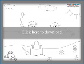 Children swimming coloring page
