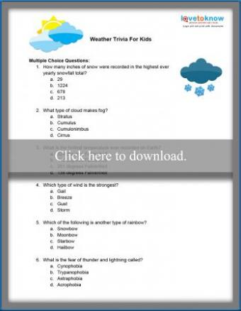 Weather Trivia Questions and Answers