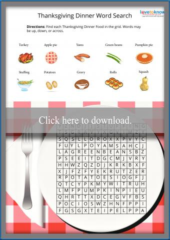 Kids Easy Thanksgiving Word Search