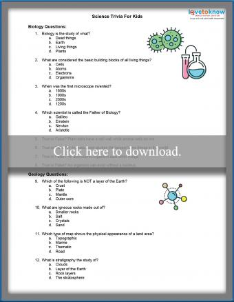 Science Trivia Questions for Kids