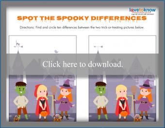 Kids spooky spot the difference worksheet