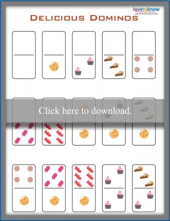 Printable Delicious Dominos game