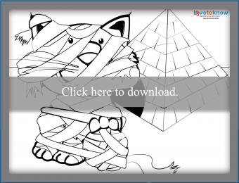 Mummy cat coloring page