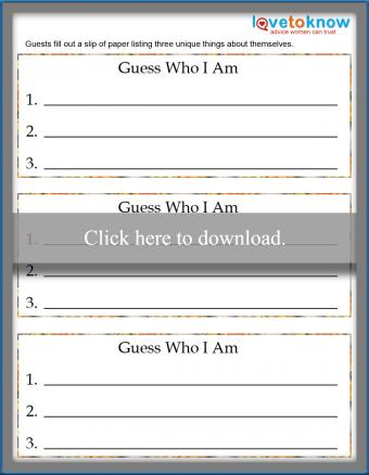 Printable Guess Who I Am game