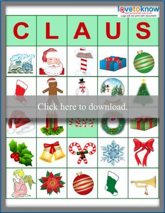 Printable Claus Bingo game