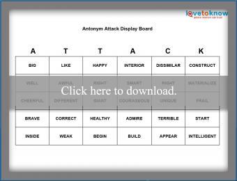 Printable Antonym Attack Card Game